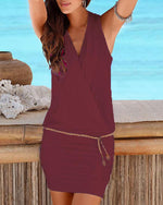 Women Casual V Neck Sheath Beach Solid Sleeveless Dress