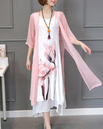 Women Casual 3/4 Sleeve Folk-Custom Printed Plus Size Dress