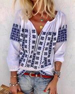 Bohemian Printing Stand Collar V Neck Plus Size Blouse Tops