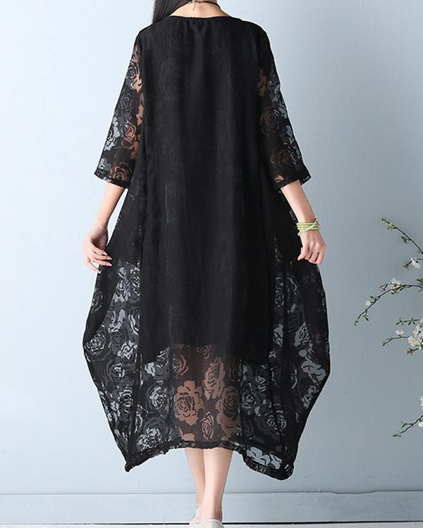 Vintage Women Lace Hollow Out 3/4 Sleeve Fake Two-Piece Dress