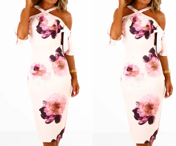 Floral Print Halter Flounced Sleeves Dress