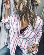 Women Casual Loose Stripe Long Sleeve Shirts