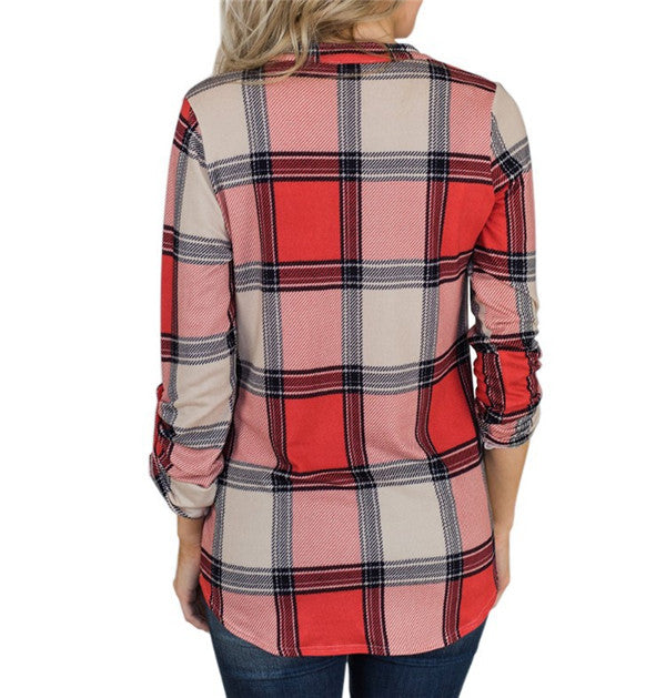 Casual V Neck Plaid Long Sleeve Blouse