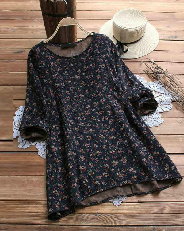 Floral Printed Long Sleeve O-neck Blouses For Women