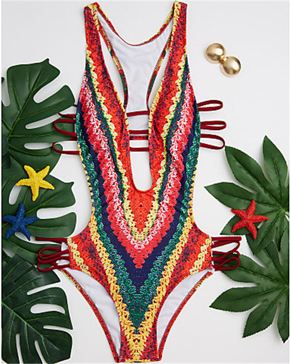 Women's Plunging Plunging Neck Rainbow Cheeky One-piece Swimwear