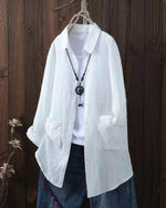 Pockets Cotton Solid Shirts Long Sleeve Pockets Blouses