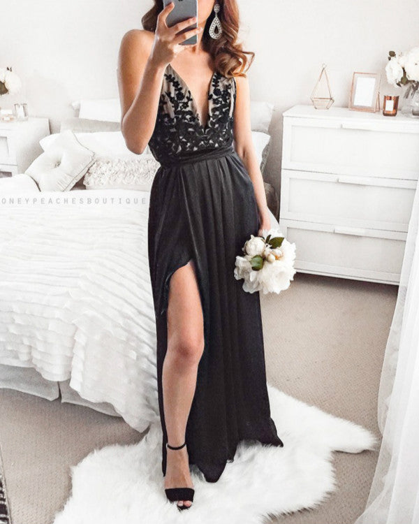 Black Split Sexy Deep V Floral Maxi Dress Party Dress