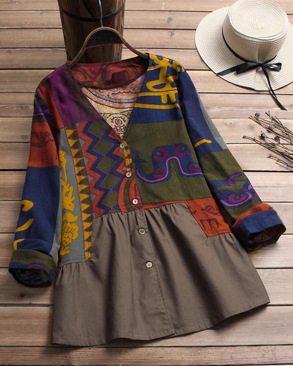 Vintage Patchwork Print Long Sleeve V Neck Shirt