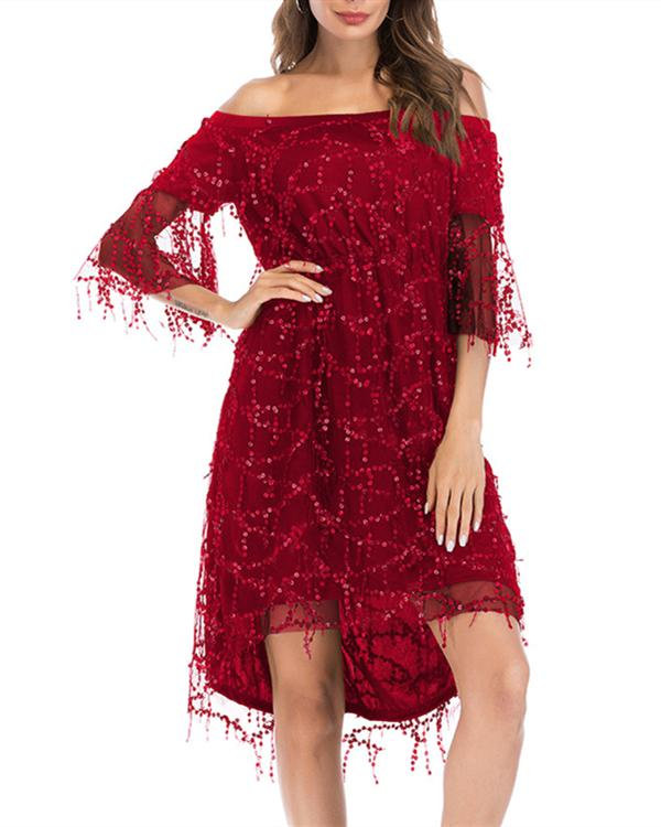 Women Sequined Half Sleeve Chiffon Off Shoulder Party Dress