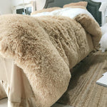 4Pcs Coral Fleece Shearling Bedding Set Sheet Warm Mink Cashmere Cover Pillowcase