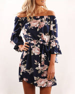 Summer Women Sexy Off-Shoulder Floral Print Dress