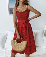 Women Casual Printed Polka Dot Ruffled Tie Button Dress