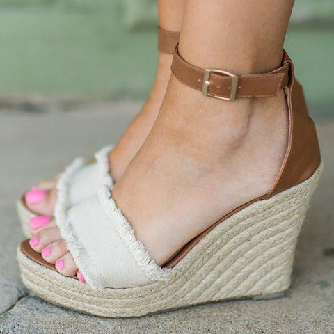 Women Canvas Wedge Sandals Large Size Adjustable Buckle Shoes