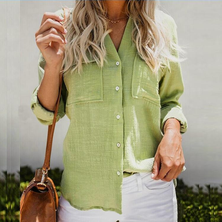 Women Casual Cotton Solid Color Long Sleeve Blouses Tops