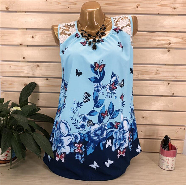 Casual Floral Printed Sleeveless Top Chiffon Vest Blouse