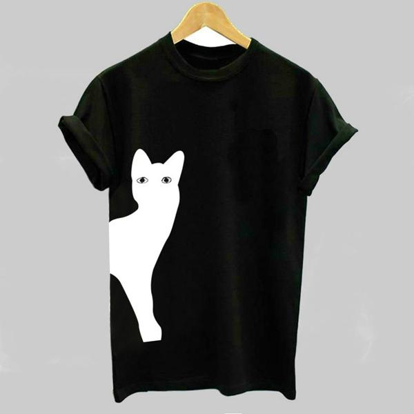 Women Casual Cat Printed Short Sleeve Crew Neck Plus Size Shirt Tops