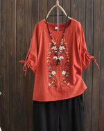 Plus Size Floral Casual Round Neckline 3/4 Sleeves Blouses Tops