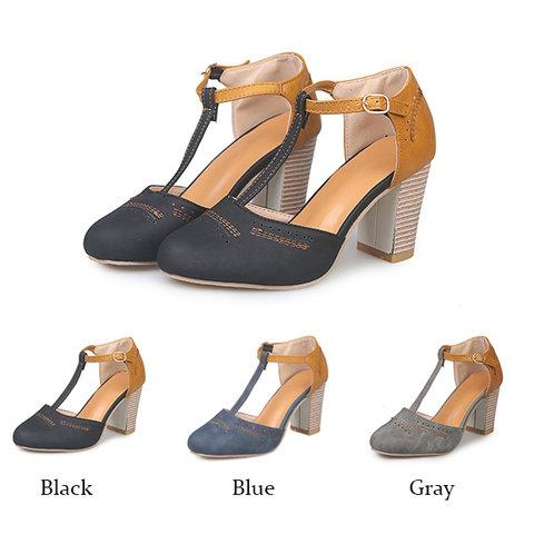 9b1777300d6 Women Vintage Color Block Sandals Casual Chunky Heel Buckle Shoes ...