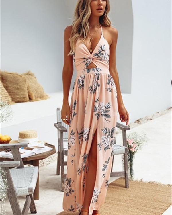 V Neck Summer Printed  Maxi Dresses