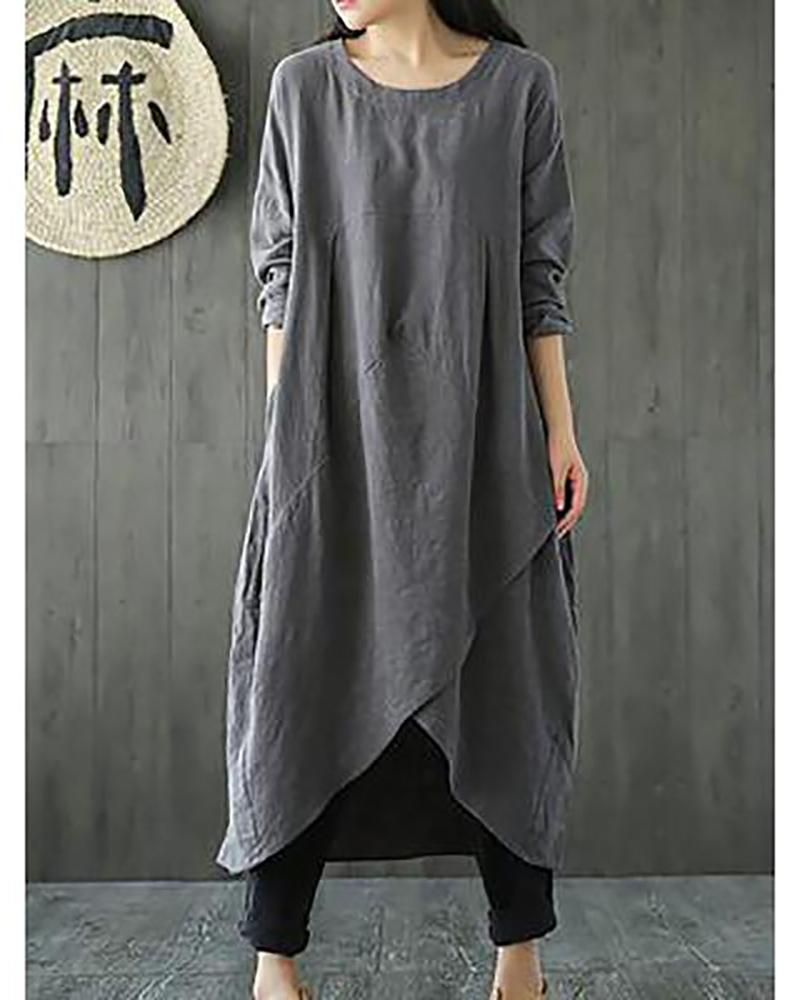 Woman Plus Size Linen-Cotton Dress Vintage Long Sleeve Maxi Dress