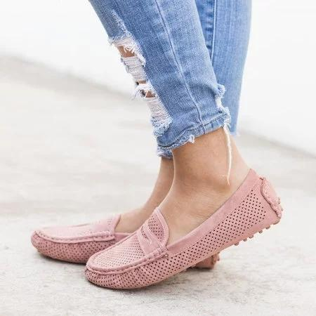 Large Size Comfort Pinhole Slip-on Loafers Non-slip Flat Shoes