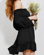 Women Casual Off Shoulder V Neck Tie Lantern Sleeves Chiffon Dress