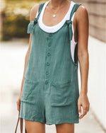 Solid Color Pocket With Cotton And Linen Strap Jumpsuits