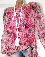 Floral Printed Off Shoulder Plus Size Women Long Sleeve Blouse Tops