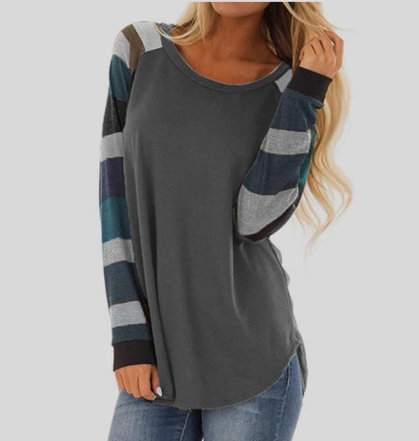 Women Casual Shirts Multi-color Striped Long Sleeve Plus Size Tops