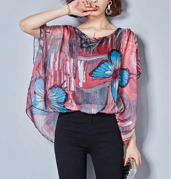 Plus Size Casual Loose Floral Print Bat Blouse