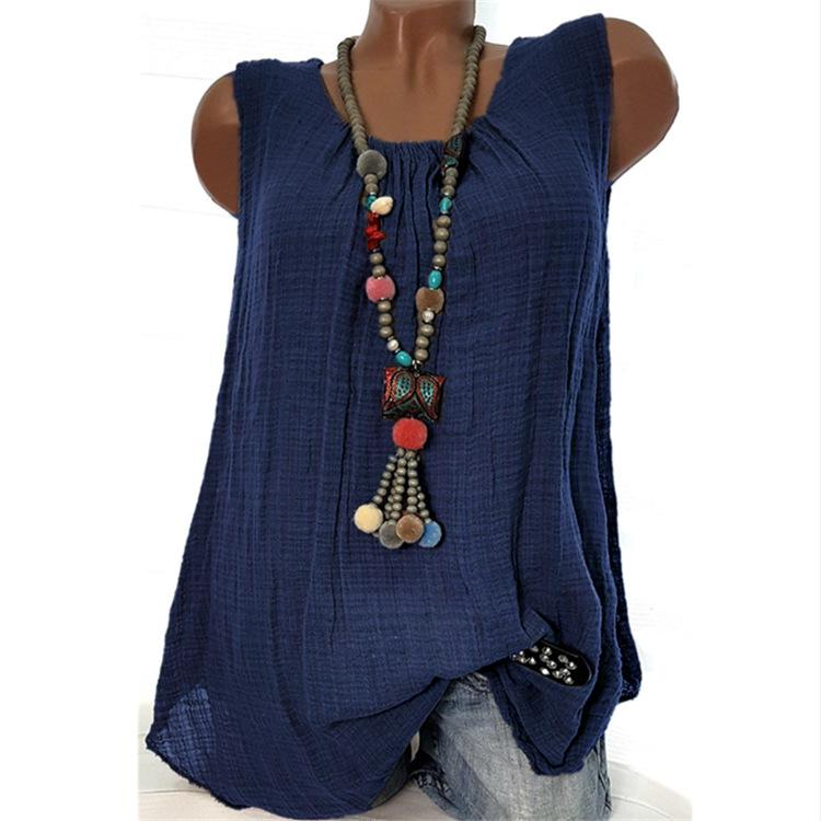 Linen Round Neck Sleeveless Casual Tank Tops