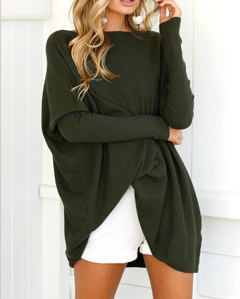 Casual Long Sleeve Crew Neck Solid Knitted Plus Size Blouse