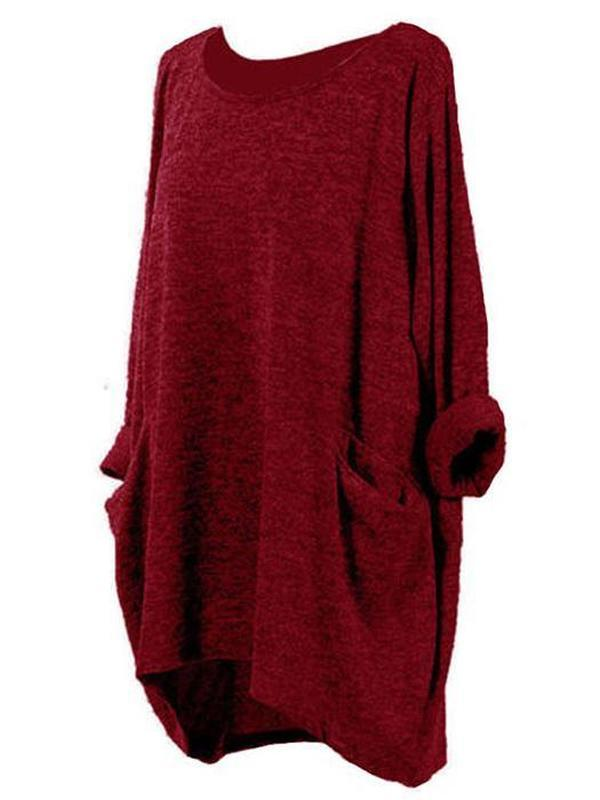 Plus Size Crew Neck Loose Long Tops Dress