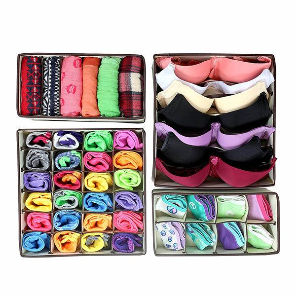 4pcs Closet Underwear Organizer Non Woven Bra Underwear Socks Drawer Storage Boxes
