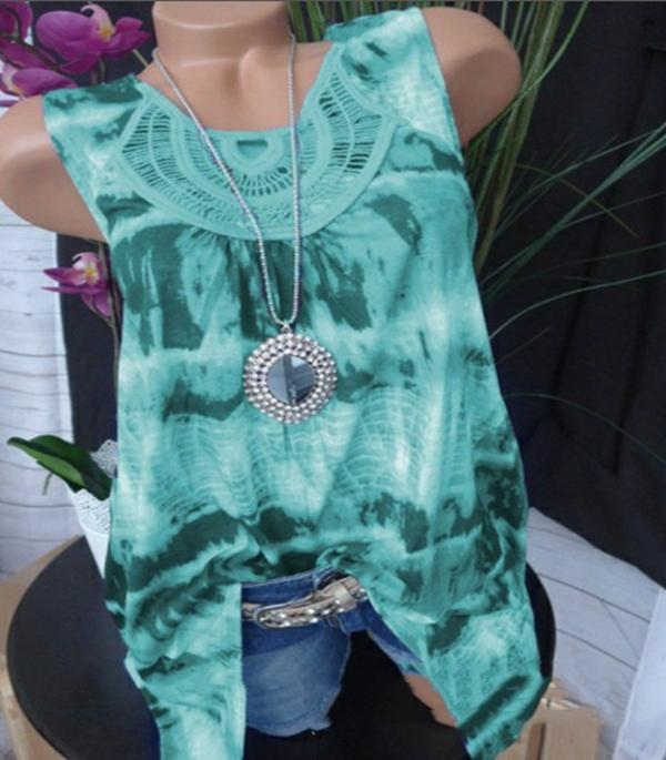 Print Sleeveless Hollow Out Casual T-shirts