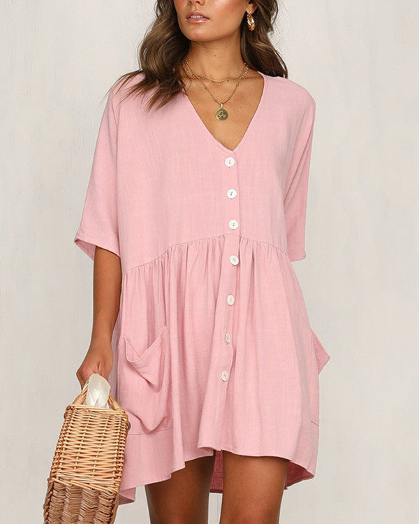 Half Sleeve Cotton Casual Dresses