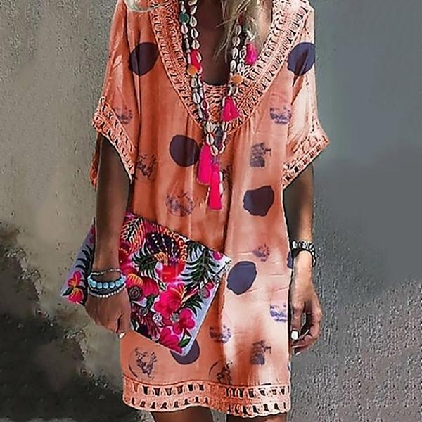 Bohemian V Neck Hollow Printed Mini Dresses