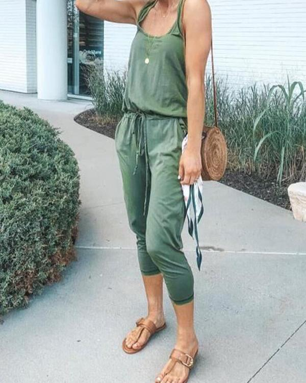 Summer Casual Lace-Up Sleeveless Solid Jumpsuit