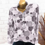 Stand Collar Polka Dots Long Sleeve Blouse