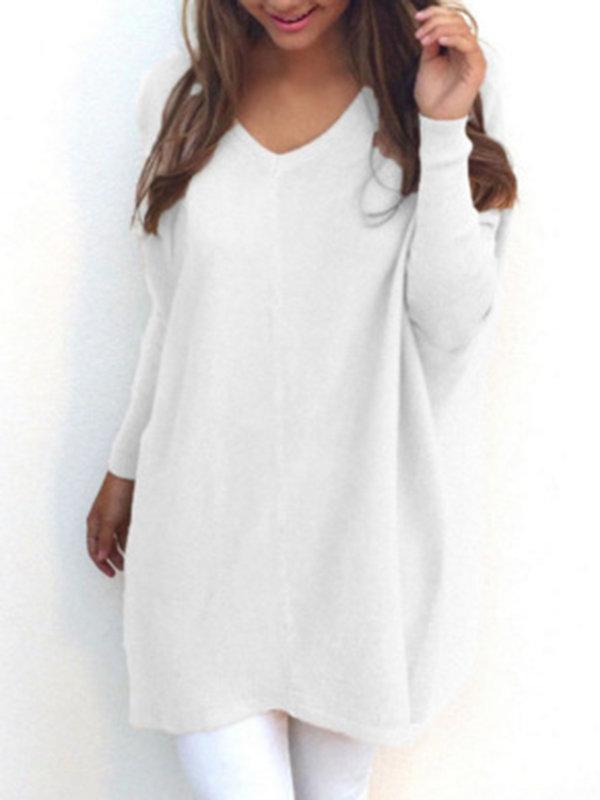 Women Casual V Neck Long Sleeve Sweaters Tops