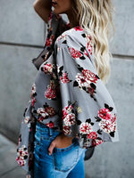 Women Casual Gray V Neck Cotton 3/4 Sleeve Floral Blouses Tops