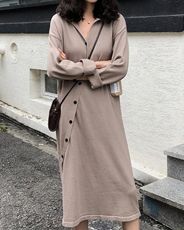 Women Casual Loose Pure Color Shirt Collar Long Sleeve Plus Size Dress
