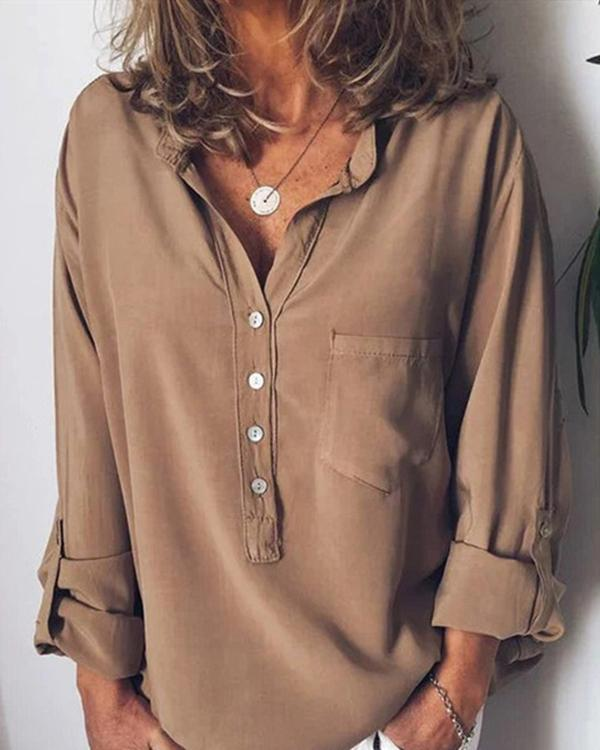 Women Casual V Neck Solid Long Sleeve Blouses Tops