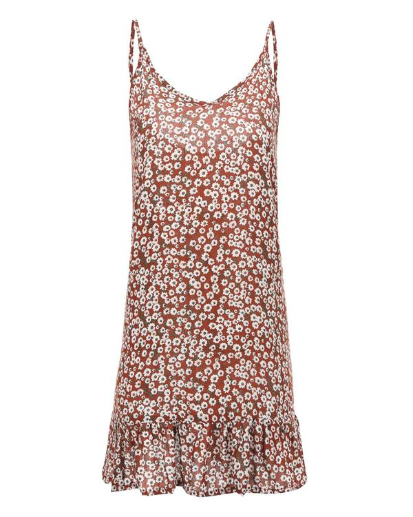 Spaghetti Straps Floral Printed Sleeveless Casual Dresses