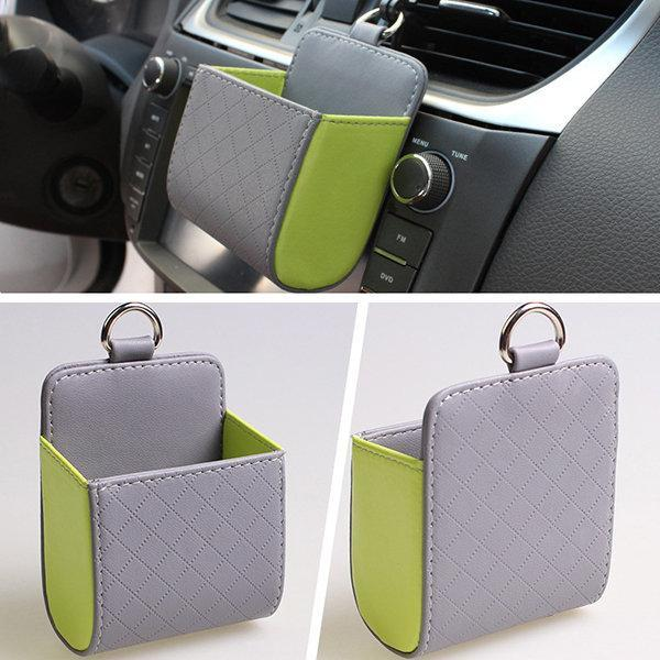 Faux Leather Color Multi-functional Car Debris Holder Phone Bag
