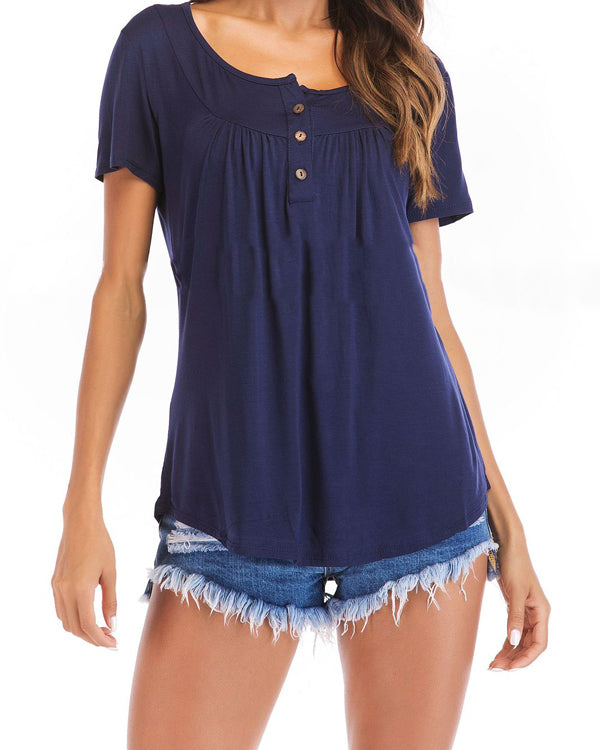 Summer Casual A-line Tops Solid Color Loose Blouse