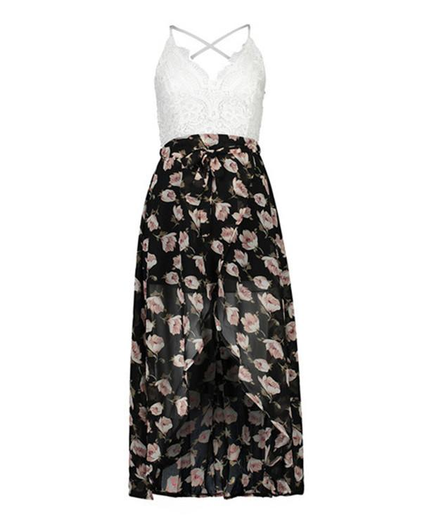 Chiffon Random Floral Print V Neck Beach Maxi Dress
