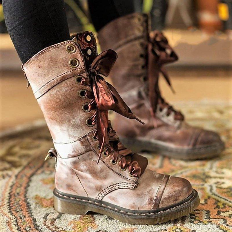 Womens Vintage Chunky Heel Lace-up PU Leather Daily Boots