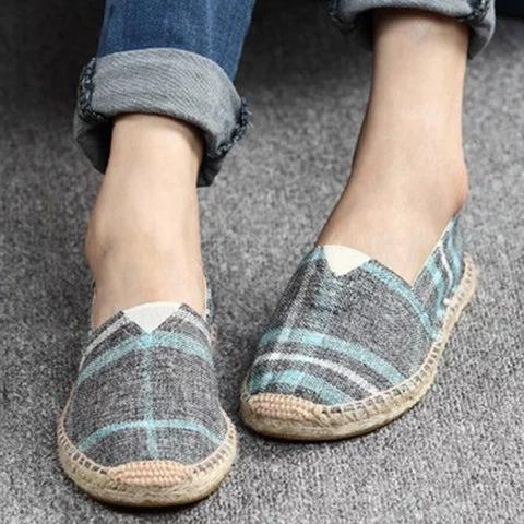 Large Size Women Canvas Shoes Color Block Slip-on Causal Comfort Loafers Flats