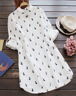 Rabbit Printed  3/4 Sleeve Women Casual Blouse
